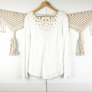 Anthro Meadow Rue white lace top size medium